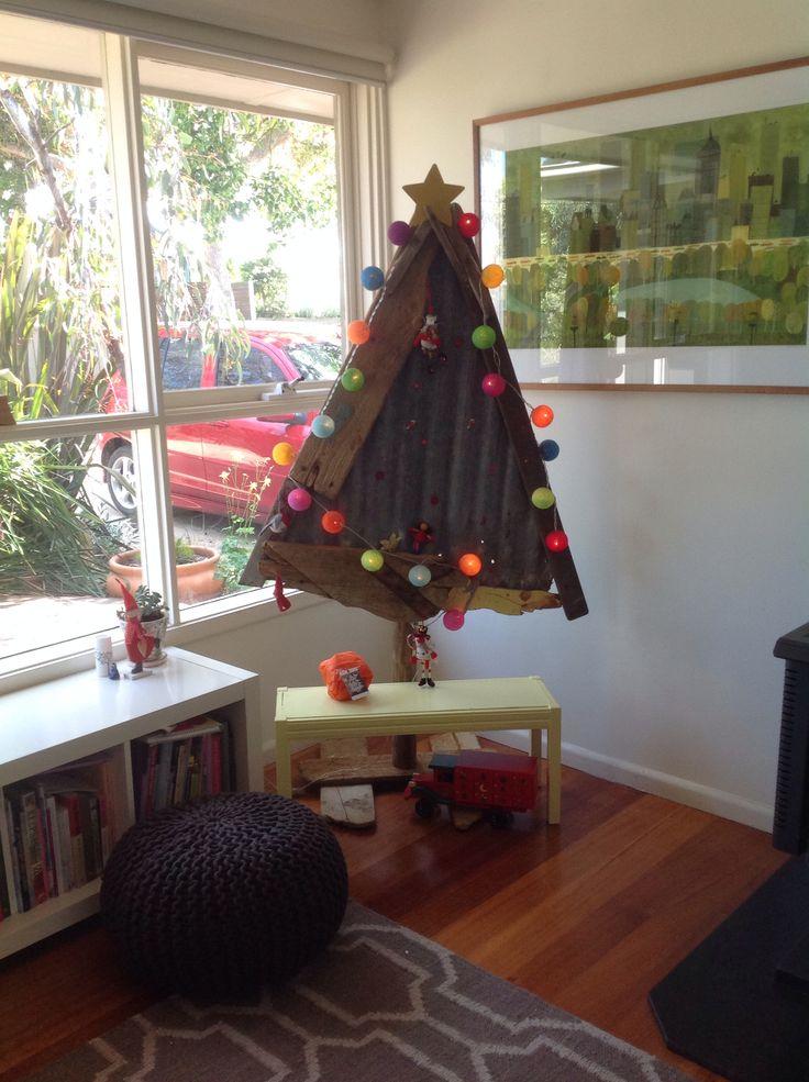 Tin and driftwood Christmas tree.