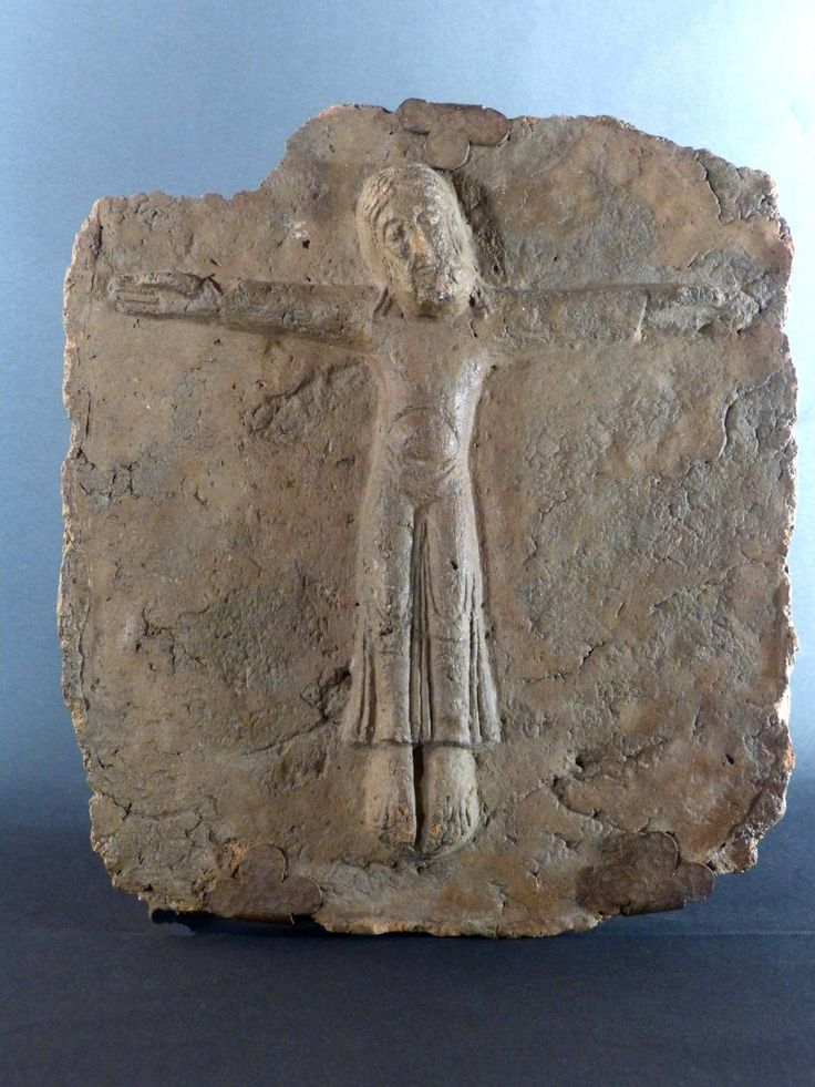 Antique for sale Romanesque plate early Middle Ages Crucified Mosan art spirit Christ Bas relief Sculpture Fine arts architecture