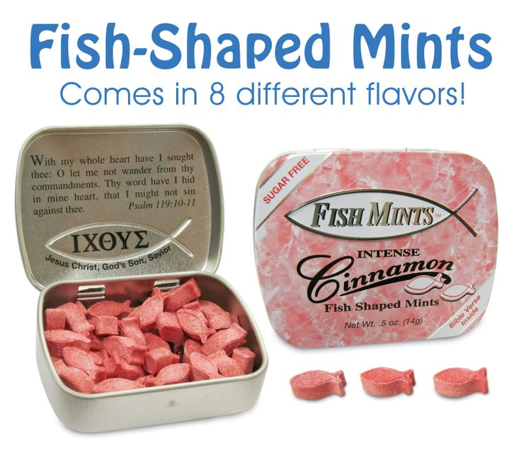 Fish-Shaped Cinnamon Mints comes in a cute little pocket-sized tin. They are sugar free too! Enjoy them in 8 different flavors. Each tin is filled breath mints shaped like a Christian fish symbol.