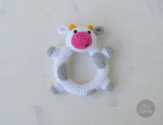 Happy Cow Rattle Pattern  Crochet Rattle Toy  Baby Rattle
