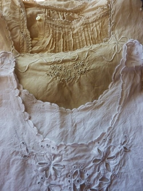 .antique linens- I have quite a collection passed down from family, plus some from flea markets . It is the detail  fine sewing, much by hand , that so attracts me.