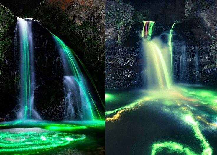 exposure waterfalls Long neon
