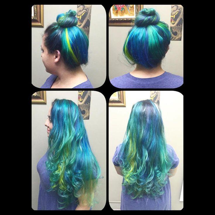#novoarte #bluehair #greenhair #turquoisehair #yellowhair #mermaidians #mermaidhair #mermaid #cabeloturquesa #cabeloazul #cabeloverde #cabeloamarelo #sereia #sereias_urbanas #cabeloscoloridos  by @kito_bo