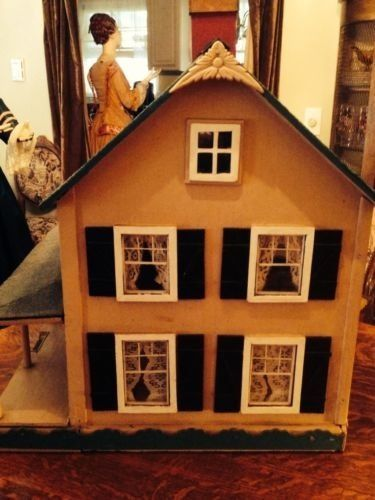 Antique Wooden Dollhouse 1940's Furnished | eBay
