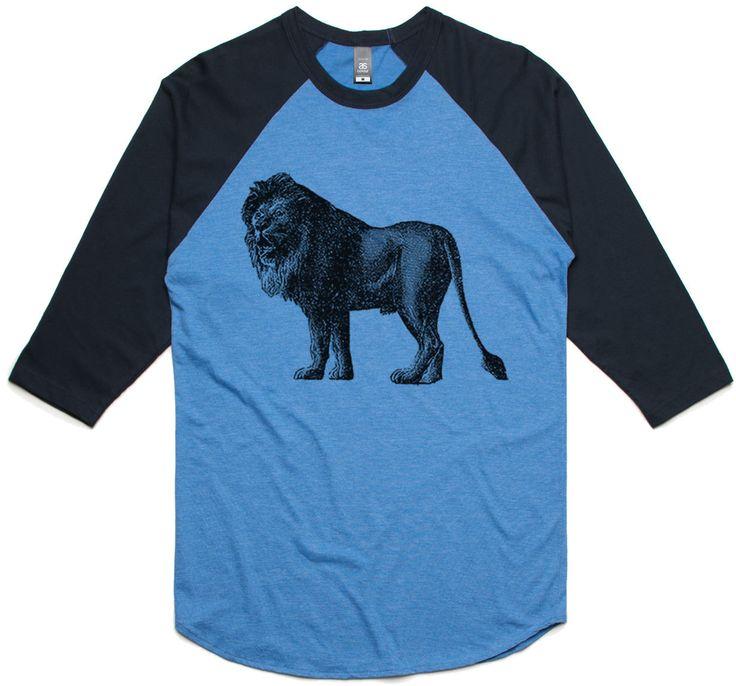 theIndie Yawning Lion (Black) 3/4-Sleeve Raglan Baseball T-Shirt