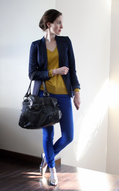 blue with mustard