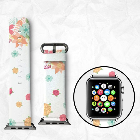 Handmade Apple Watch Strap 38/42mm - Flowers (BBSW016)