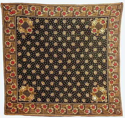 Kerchief in block printed cotton, Swedish, ca. 1800-25. Nordiska Museet, nr. NM.0024760I
