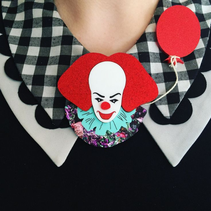 The Kaiju Candy Limited Edition You'll Float Too Clown Brooch.The first collection in our new series paying homage to our favourite scary movies! Hand drawn laser cut clown and balloon ...