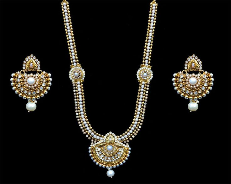 White CZ Pearls Indian Ethnic Fashion Long Rani Haar Necklace Earrings Mang Tika #Indian