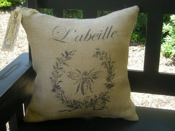 French Bee Wreath Labeille Burlap Pillow By SimplyFrenchMarket 1800