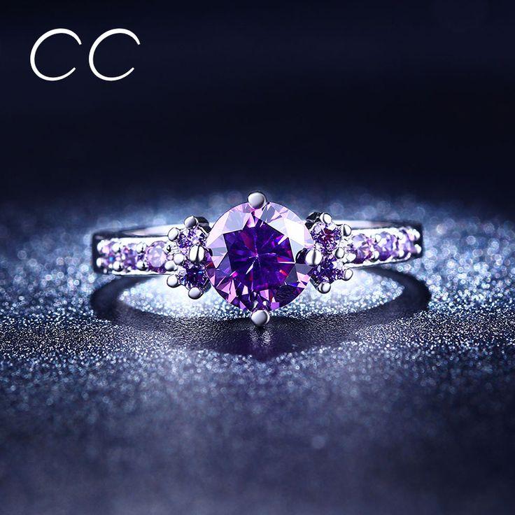 CC luxe paars verlovingsringen voor vrouwen aneis vintage CZ diamond wedding ring bijoux bague femme chiristmas geschenken CC199