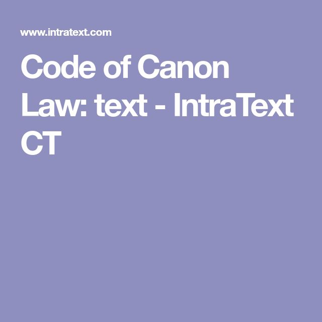 Code of Canon Law: text - IntraText CT