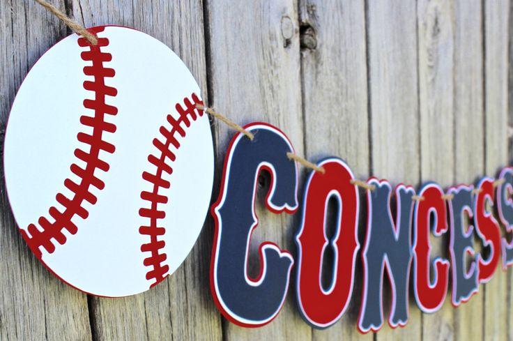 Baseball Concessions Banner - Baseball Birthday Banner - Baseball Baby Shower - Baseball Happy Birthday Banner by SparklingConfetti on Etsy https://www.etsy.com/listing/242650795/baseball-concessions-banner-baseball