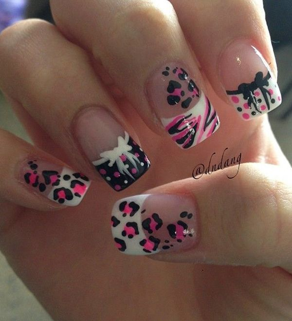 A really cute looking leopard nail art design. The combination of the designs with clear coat, pink, black and white polish looks refreshing and adorable.