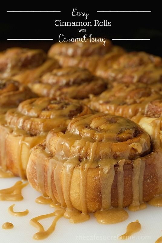Easy Cinnamon Rolls with Caramel Icing - Fabulous cinnamon and walnut swirled sweet rolls with a to-die-for silk caramel drizzle. Start to finish in less than 2 hours!