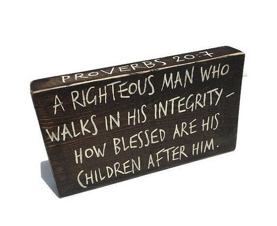 Father's Day Gift - Wood Scripture Sign - Bible Verse Sign - Wood Block Sign - Proverbs Sign - Father's Day Christian Gift