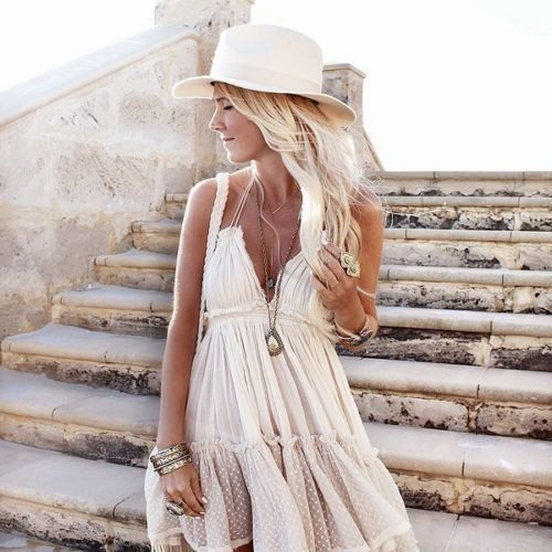 "Boho Mini Dress ""100 Degree"" Beige Off White Halter Top With Tiered Polka Dot…"