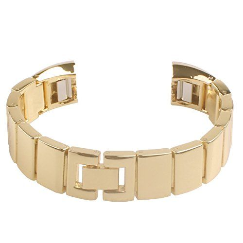 Fitbit Alta Band Newest Premium Replacement Accessory Metal Watch Bands Bracelet Strap for Fitbit Alta (No Tracker) (Style C: Gold)