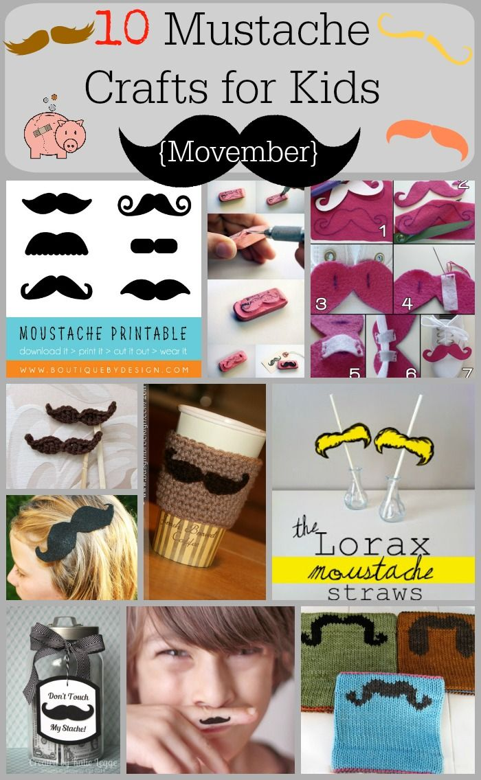 10 Mustache Crafts for Kids {Movember} -- It's time to embrace 'the business man', 'the after eight,' 'the handlebar' and 'the walrus.' No, those aren't cocktails or fancy dance moves, they're mustaches! It's MO-VEMBER in November so bust out these 10 crafts for kids and get them giggling!