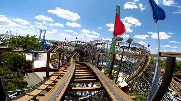New Mexico Rattler front seat on-ride HD POV Cliff's Amusement Park