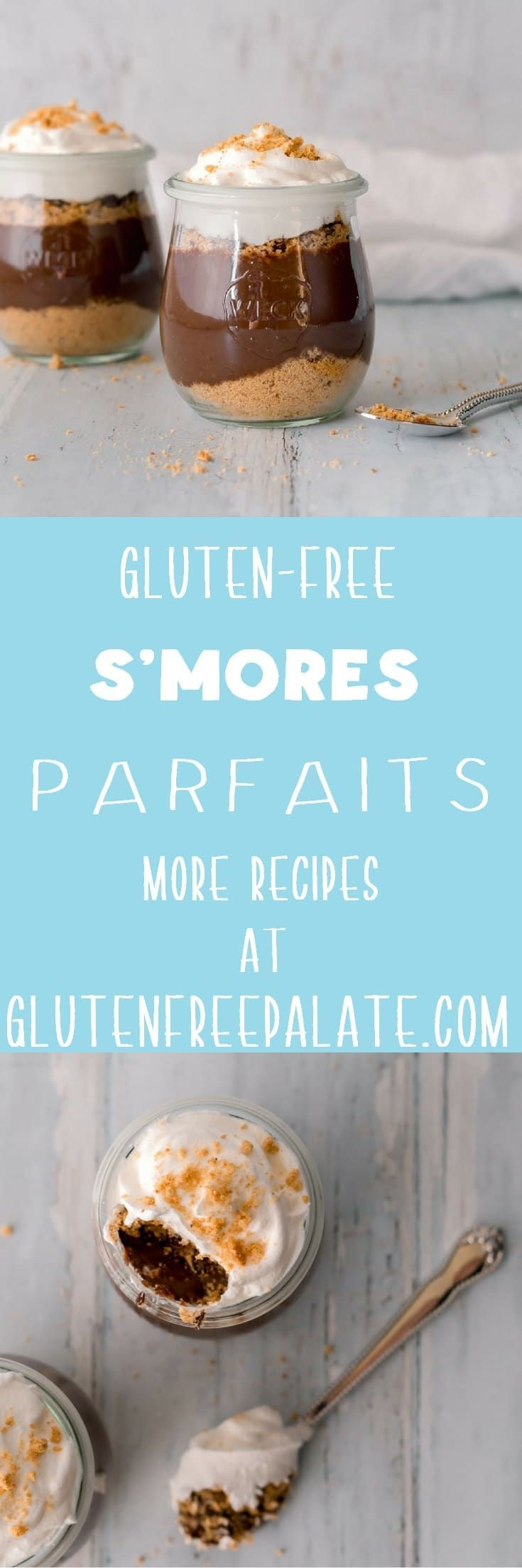 Gluten-free S'mores Parfait - a simple, yet decadent gluten-free dessert with layers of graham crackers, chocolate, and whipped cream. via @gfpalate