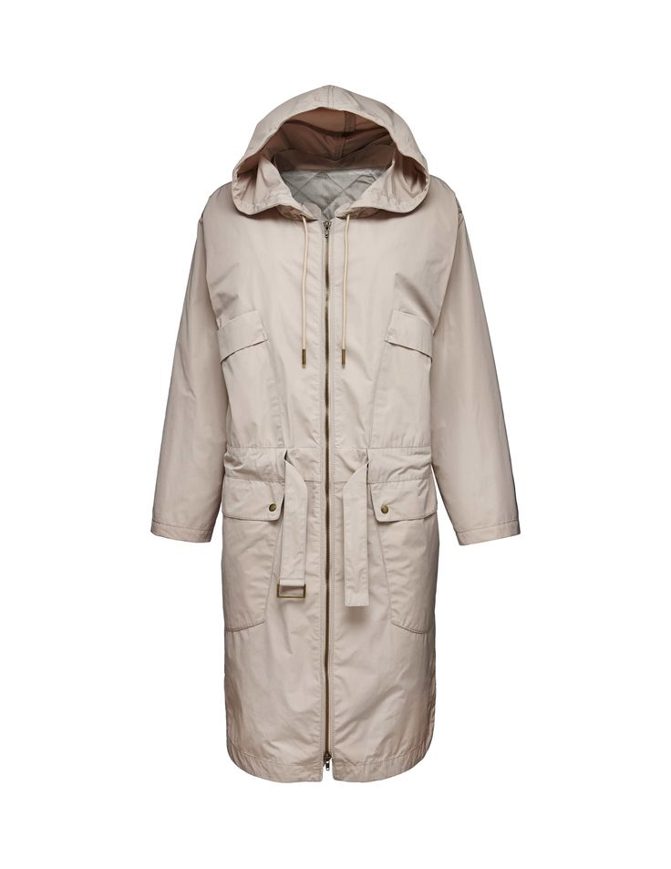 Fatina coat - Women's parka in taffeta. Features removable quilted lining with belt closure. Front zip closure. Hood and waist with drawstring detail. Oversized fit. Above-knee length.