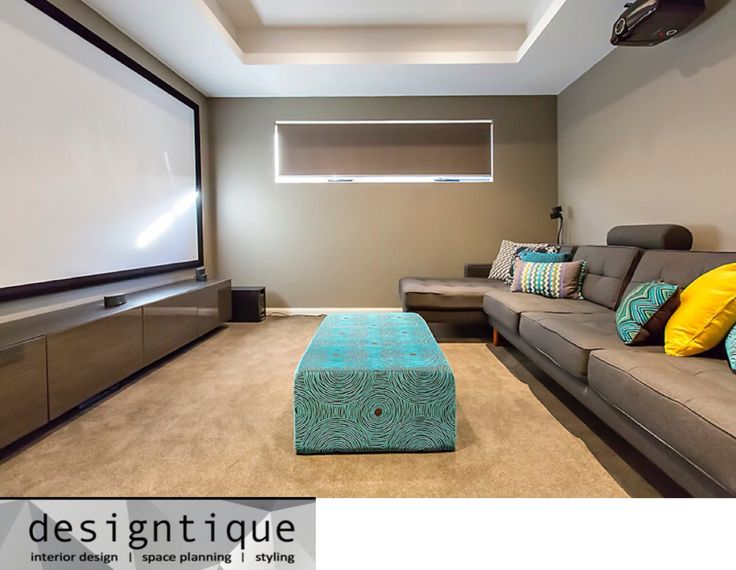 Theatre Room with custom designed lounge and ottoman