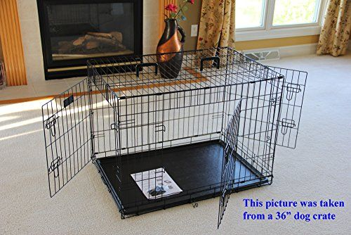 EliteField 3-Door Folding Dog Crate with RUBBER FEET 5 Sizes 10 Models Available (3-Door Crate with Divider 36'L x 24'W x 26'H)...