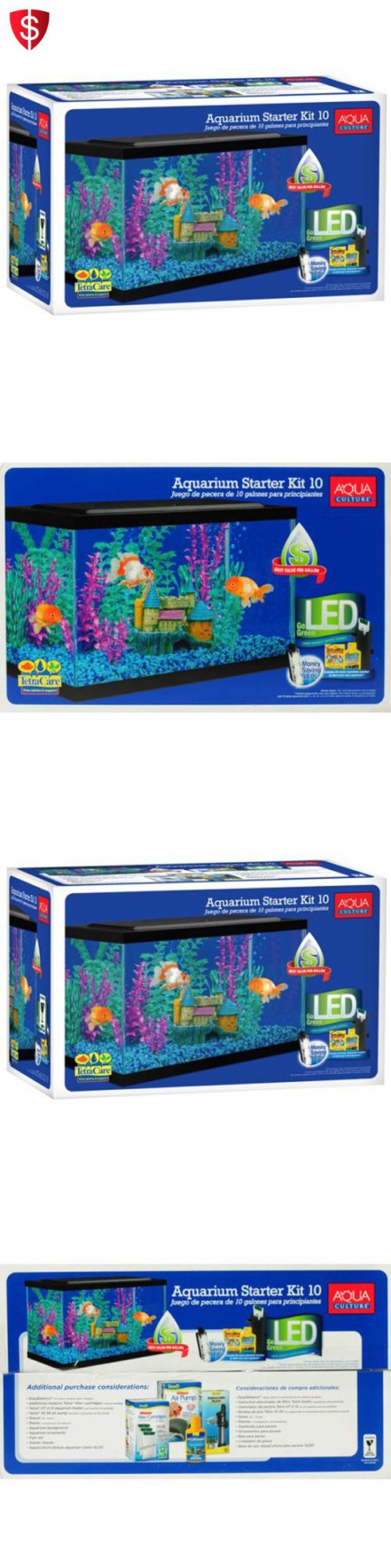Aquarium fish tank starter kit - Animals Fish And Aquariums Aquarium Fish Tank Glass Led Light Starter Kit Filter Hood Clear