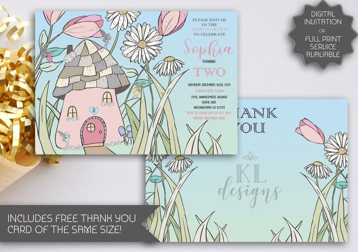 Fairy Garden Party Invitation | Tinkerbell Party | Fairy House | Fairy Printable Invitation | Cute Fairy Garden | Hand Illustrated (087) by kellylouisedesigns on Etsy