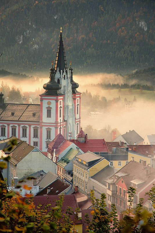 Morning fog at the basilica, Mariazell, Austria