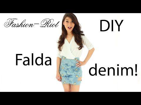 DIY - FALDA DENIM - MEZCLILLA   Fashion - Riot - YouTube