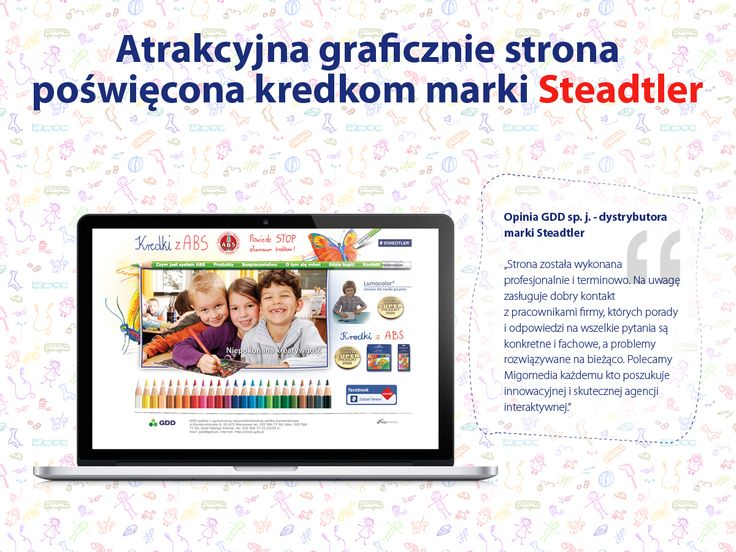 Atrakcyjna graficznie strona poświęcona kredkom marki Steadtler.