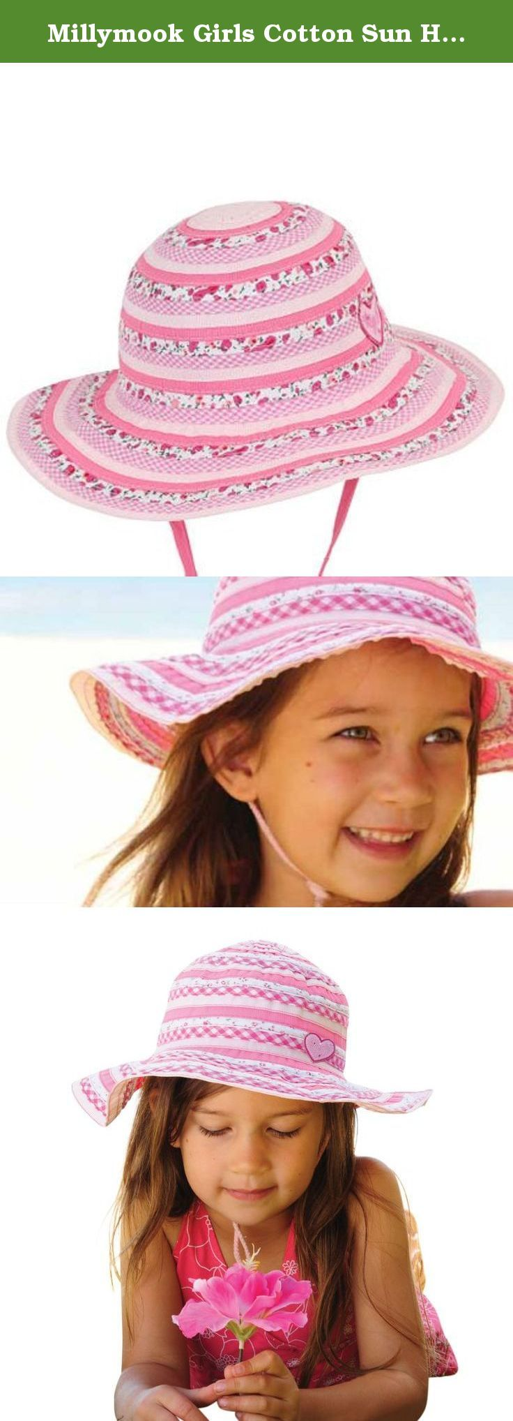 Millymook Girls Cotton Sun Hat Sweetheart -Pink, Upf50+ (2-5 Year Olds). Our Tradition of high quality, fashionable head wear at affordable prices continues. The Hat features Ultraviolet Protection Factor UPF 50+ Excellent Sun Protection UPF- What does it mean? UVR is present in sunlight. Sunburn is one sign that your skin has been exposed to too much UVR. Overexposure to UVR over many years can cause more serious health problems such as skin cancers or cataracts. Clothing that is…
