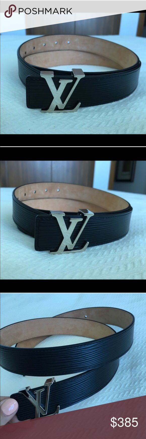 Louis Vuitton belt black with silver buckle Worn a few times, some scratches on the buckle. Size 85cm .. Louis Vuitton Accessories Belts