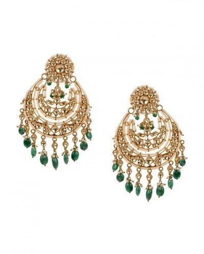 Chaand baalis, earrings, emerald, round earrings, maharani style, regal, mehendi, engagement jewellery, kundan earrings , drops