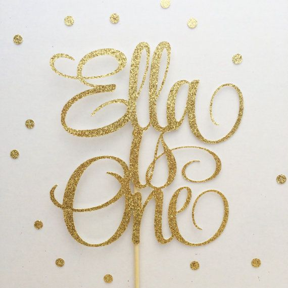Custom Name and Age Cake Topper (Glittery, First Birthday Cake Topper, Custom Cake Topper, Birthday Cake Topper)