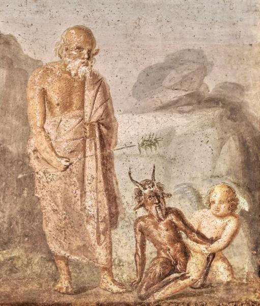 Sileno, Pan y Eros - Fresco de la Casa de Meleagro, Pompeya