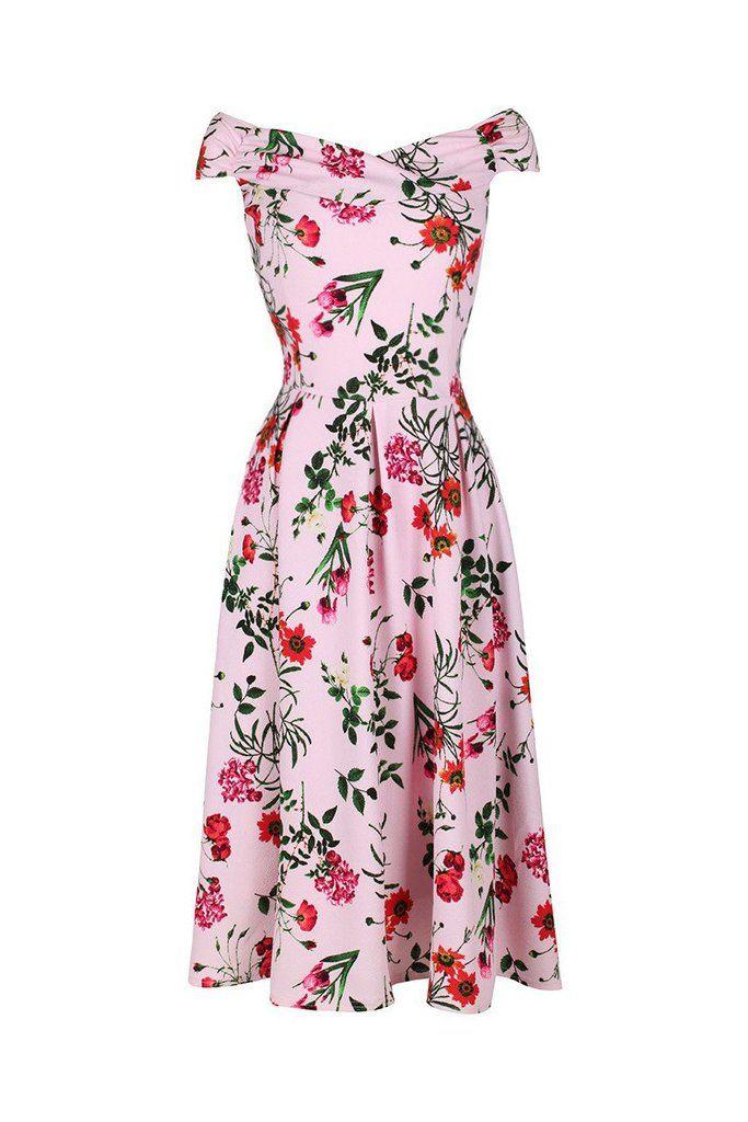 Pink Floral Print Crossover Bardot 50s Swing Dress