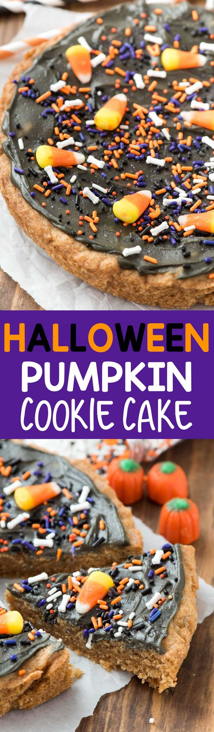 EASY Halloween Pumpkin Cookie Cake - the most fun Halloween treat! Thanks to a pumpkin cookie mix this recipe is made in minutes!!  via @crazyforcrust