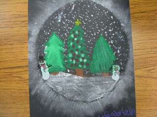 ART with Mrs. Smith: Snowy Holiday Trees - do as a snow globe project