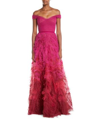 86db52bb4f560 Off-the-Shoulder+Ombre+Textured+Gown+by+Marchesa+Notte+at+Bergdorf+Goodman.