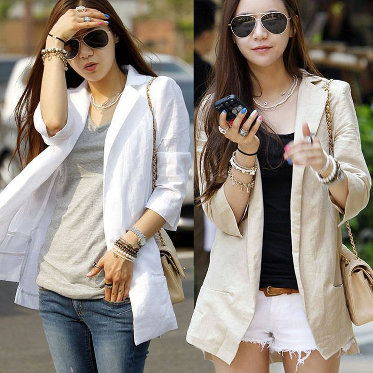 Summer Women Casual Linen Blend Suits Blazer 3/4 Sleeve Thin Coat Jacket