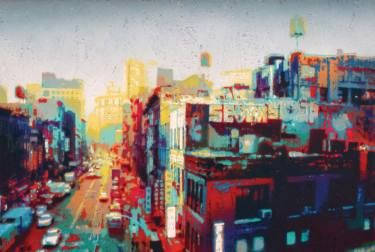 "Saatchi Art Artist Alberto Silva; Painting, ""Rooftop bombing - Rainbow version. 2 of 5."" #art"