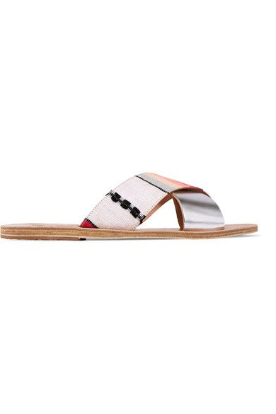 Ancient Greek Sandals - Lemlem Thais Metallic Leather And Jacquard Slides - Silver - IT35