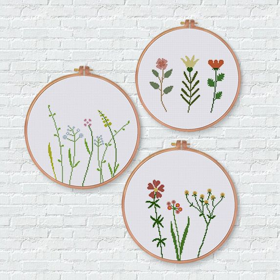Wildflower cross stitch pattern natural house decor easy botanical design