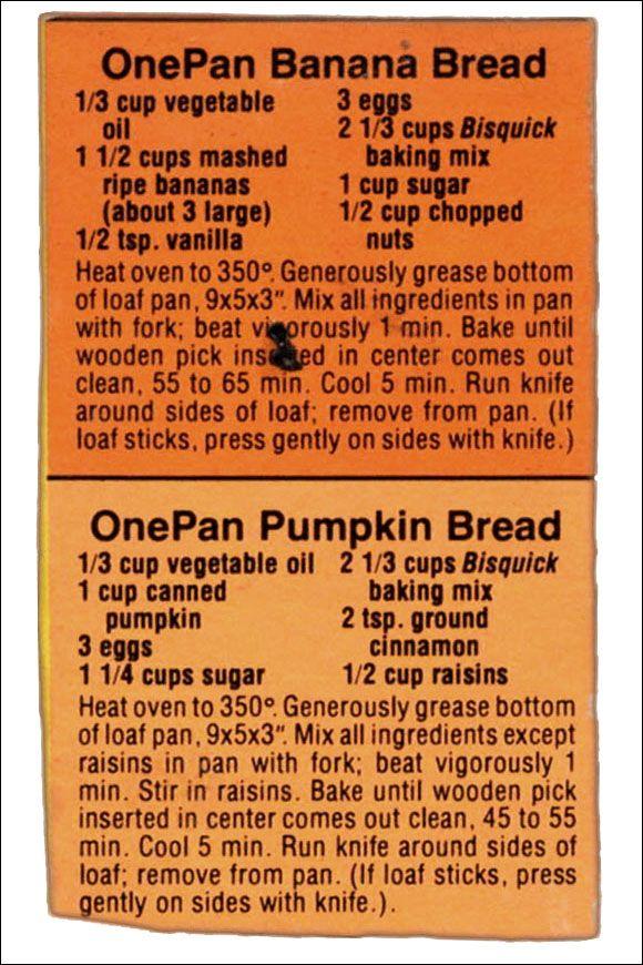 Bisquick Recipes - Banana Bread & Pumpkin Bread