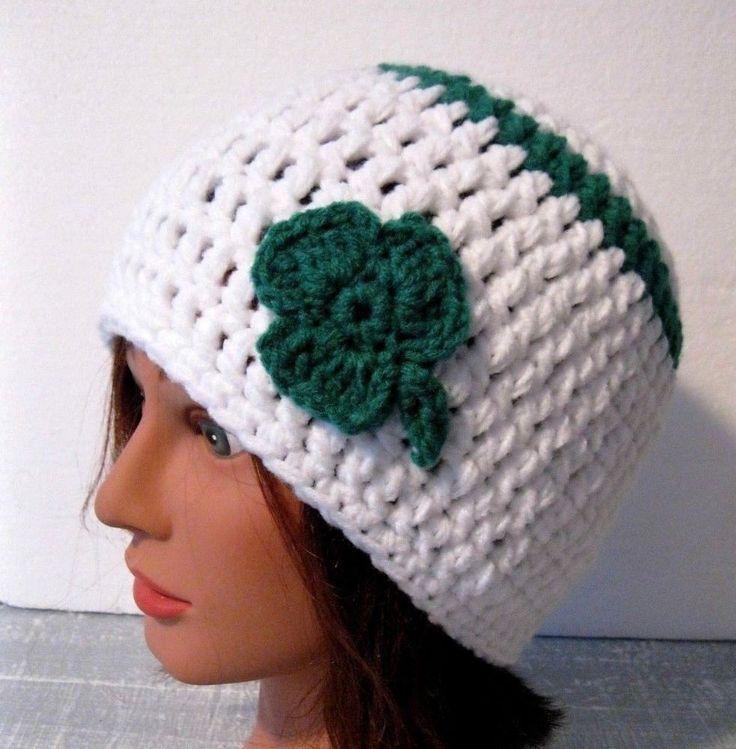 Women/Teen Girl Beanie Hat  St. Patrick's Day Shamrock Handmade Crochet NEW #Handmade #beanie #StPatricksday