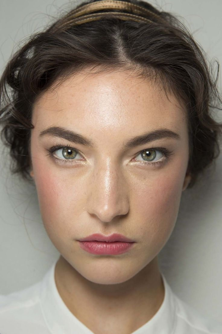 bold brows, luminous skin, soft pink cheeks and stained lips